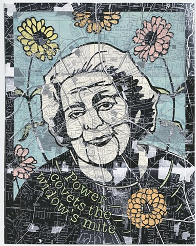 Cut paper portrait of Fannie Mae Dees by Lesley Patterson-Marx