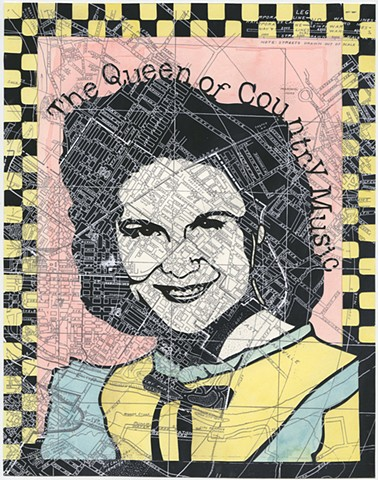 Cut paper portrait of Kitty Wells by Lesley Patterson-Marx