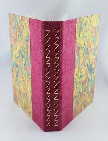 Sketchbook with marbled fabric and zig-zag binding by Lesley Patterson-Marx