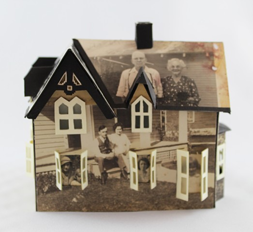 """Memory House,"" (detail 3) Book object with found photographs by Lesley Patterson-Marx"