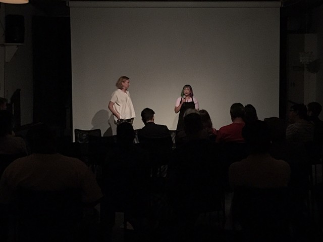Documentation of event (featured is myself speaking about the program with curator Mary Magsamen)