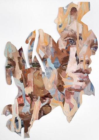 painting, figure, portrait, feminism, color, women, faces, collage, lacey mckinney