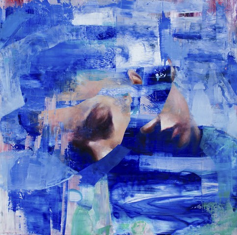 blue painting, abstract, figurative