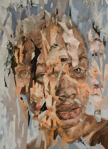 oil paint, portrait, faces, women, collage, color, race
