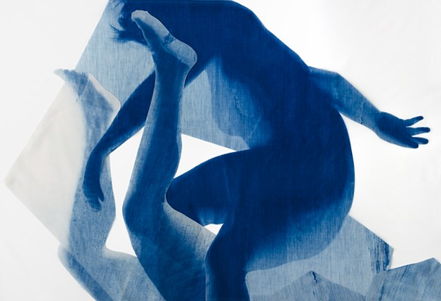 cyanotype, collage, fabric, women's work