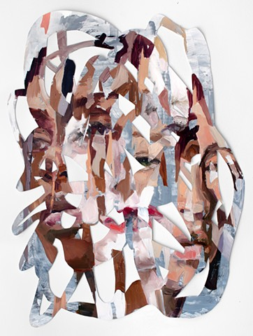 lacey mckinney, color, faces, women, figure, abstract, contemporary painting, oil, flesh, conceptual, feminist
