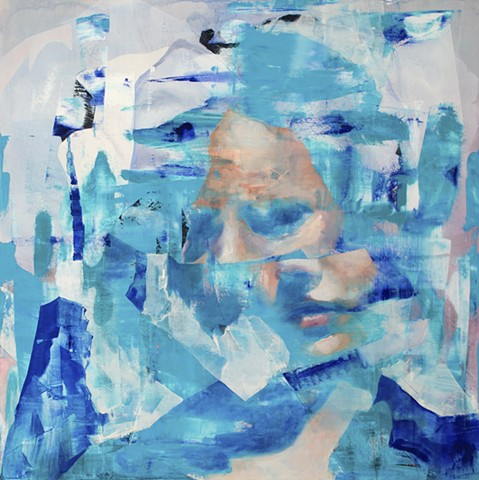 blue painting, faces, deconstruction