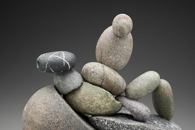 detail of handbuilt porcelain rock teapot