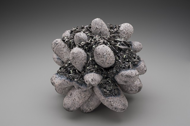 Ceramic Sculpture: purple with metallic crust