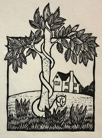 snake, cat, tree, house, woodcut
