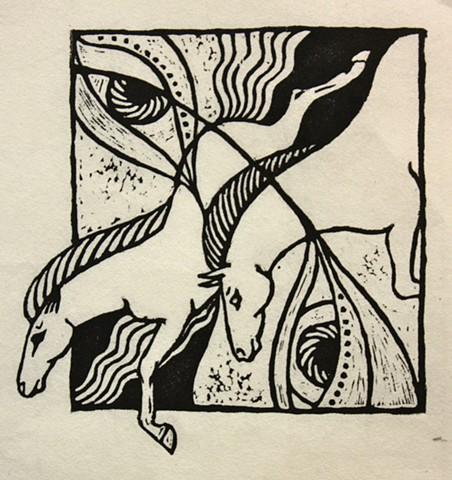 diving horses, eyes, woodcut