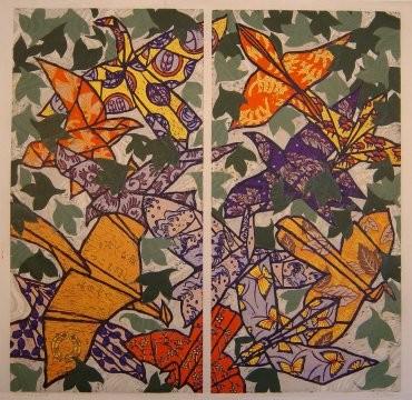 Origami birds, haiku, Japanese woodblock print