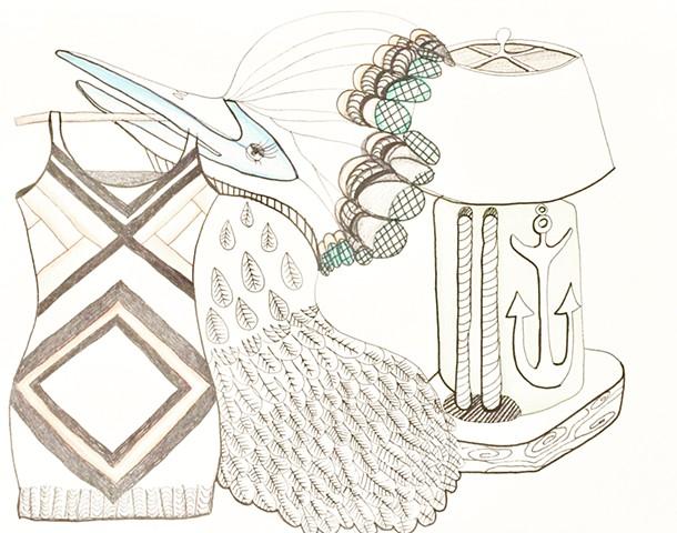 Sweater Dress, Exotic Bird & Table Lamp