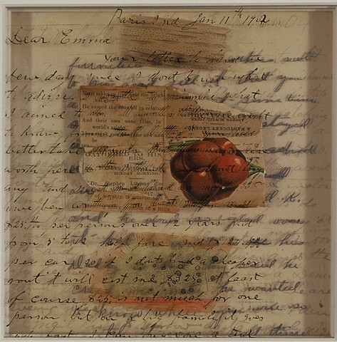 Mixed media collage with vintage text, image, and transparencies