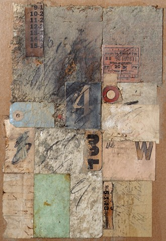 Mixed media collage with found paper and graphite