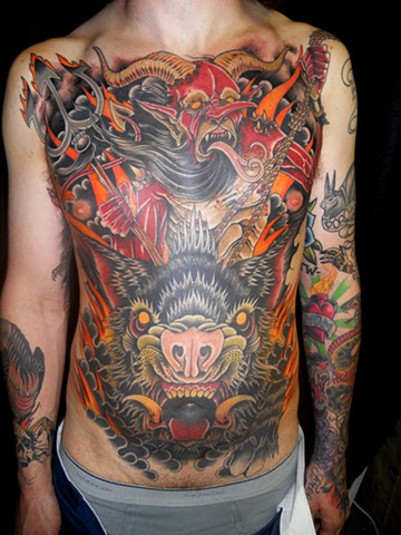 derek noble, devil torso tattoo,