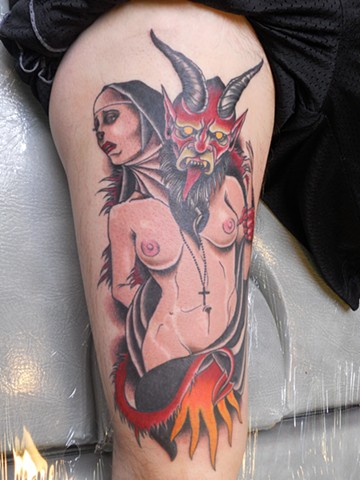 derek noble, tattoo, nun and the devil