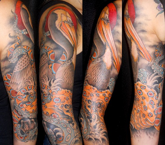 derek noble, pelican and octopus tattoo,