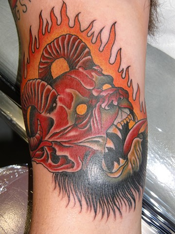 derek noble, devil head tattoo,