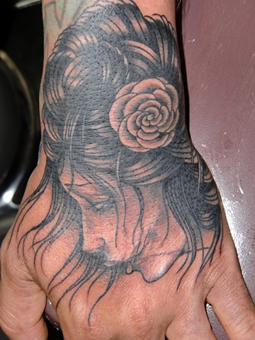 derek noble, girl on hand tattoo,