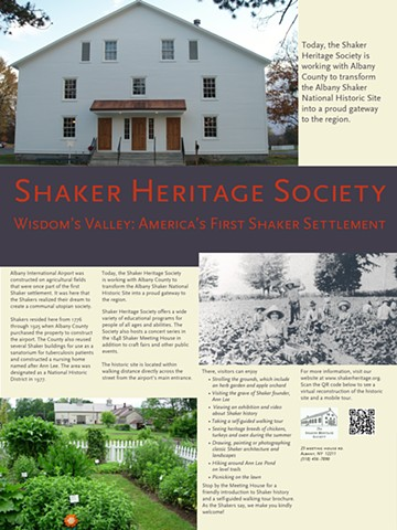 Shaker Heritage Site informational panel, Albany Airport