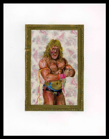 A depiction of the WWF wrestler Ultimate Warrior with antique wrapping paper, vellum, and cold-pressed paper