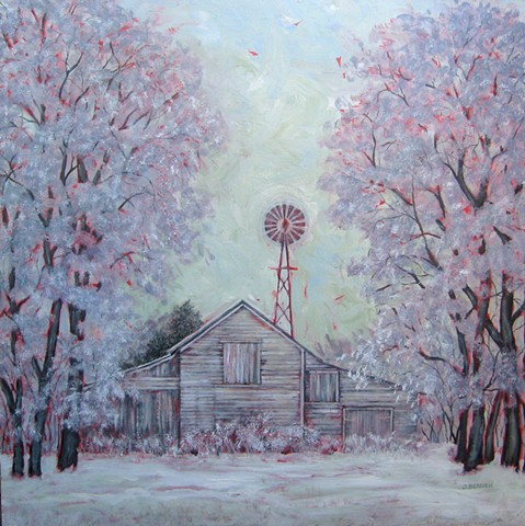 Snowy landscape with barn and windmill