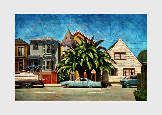 West Oakland street scene.  Old Victorian houses, palm trees, a vintage auto and a cruiser parked at the curb