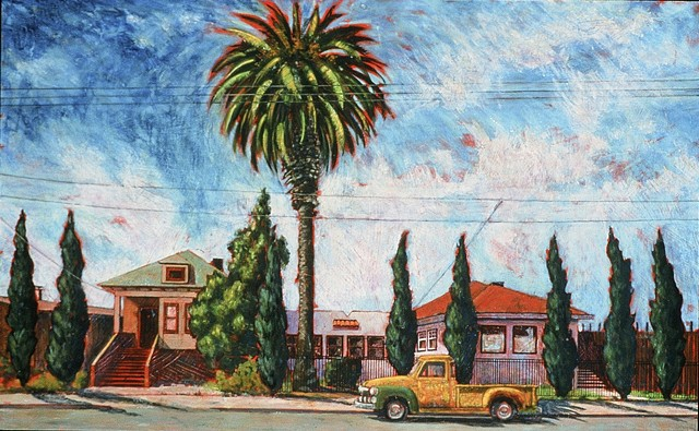 Old yellow truck parked on Linden Street. Cypress trees parade across the scene, and a lone palm dominates the sky.