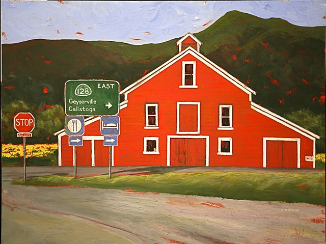 Red barn in field of yellow mustard, Highway 128 sign, CA landscape