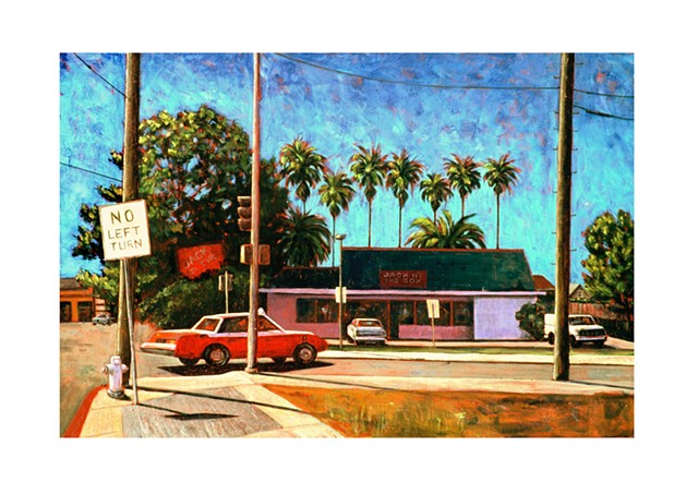 Oakland Street scene. A taxi rounds the corner of 54th and Telegraph Avenue, across the street is Jack In the Box, with a row of palms parading behind it..
