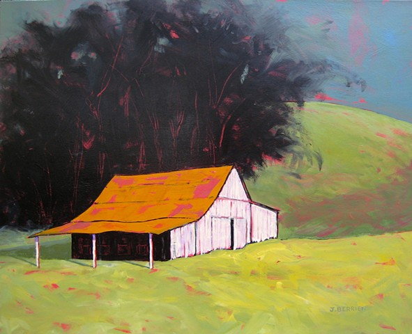 Landscape with little white barn, eucalyptus trees behind