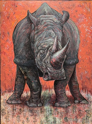 Rhino with head bowed on a blood red background, standing in a field of $$$.