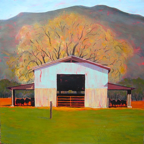 Barn with cattle, green pasture, valley oak in spring bud,  CA landscape