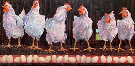 A row of chickens on the egg production line, chatting.
