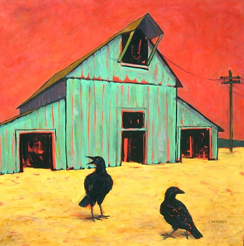 Expressionistic color, blue barn with crows, small family farms threatened