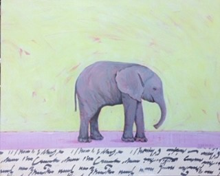 Baby elephant, orphaned by poachers? Aqua and pink background with collaged border