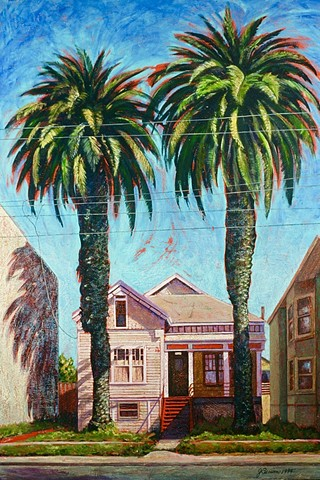 Urban landscape with Victorian house and palm trees. West Oakland street scene.