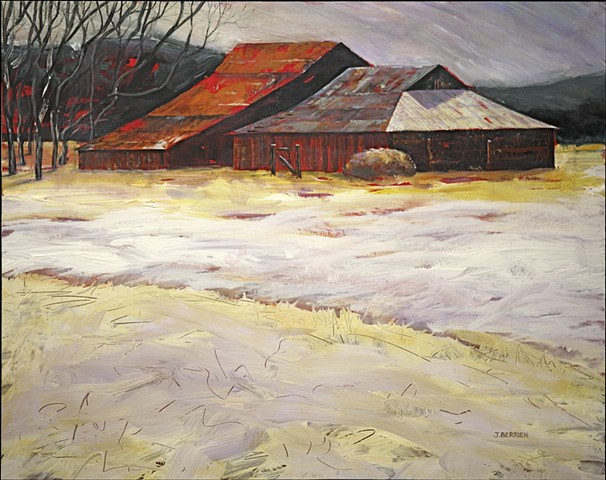 Barns in a winter landscape, snowy field, expressionistic color