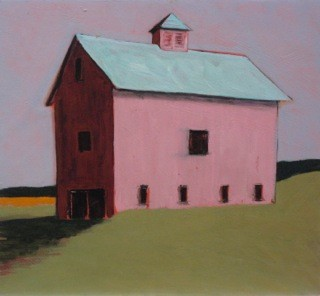 Pink barn with cupola on grassy hill