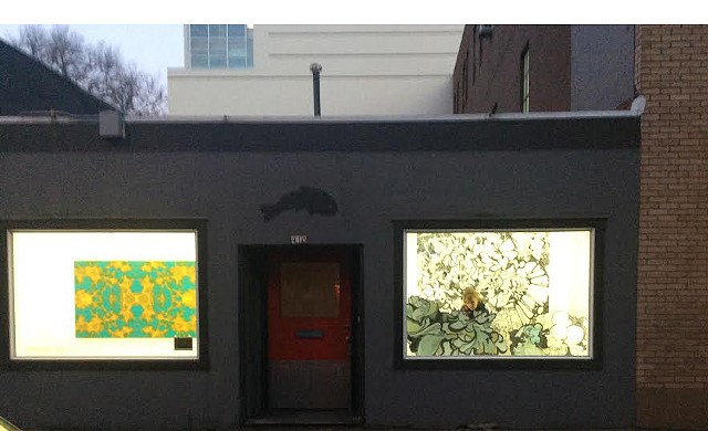 Across the street view of Vivid 4 installed in Fishbowl II at Blackfish Gallery in Portland, OR