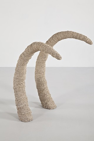 Clay sculpture by artist Paul March entitled Extended Phenotype 1, resembling 2 elephant tusks