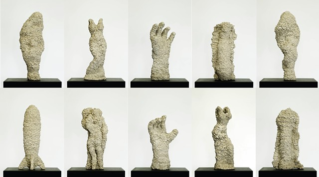 10 Small Sculptures in clay by artist Paul March
