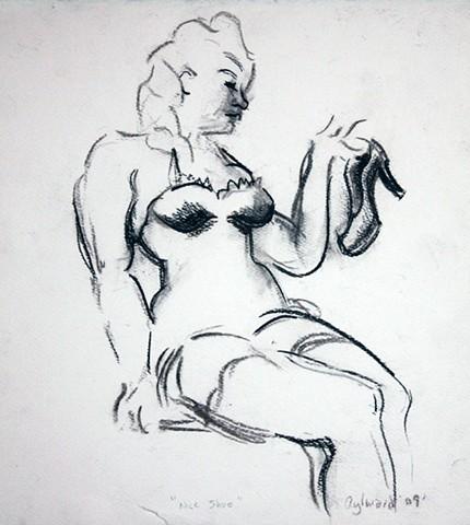 figure with high heel shoe on her hand