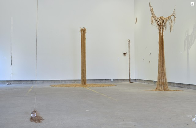 "installation view of, ""devolve"", back of gallery 3S Artspace in Portsmouth, NH"