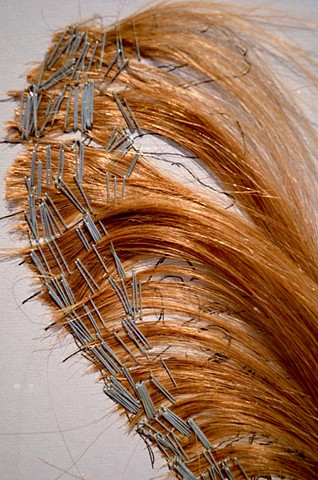 Detail of a spine drawn with human hair, ink, and staple