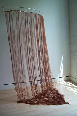 hair curtain, shower curtain hair, hair curtain sculpture