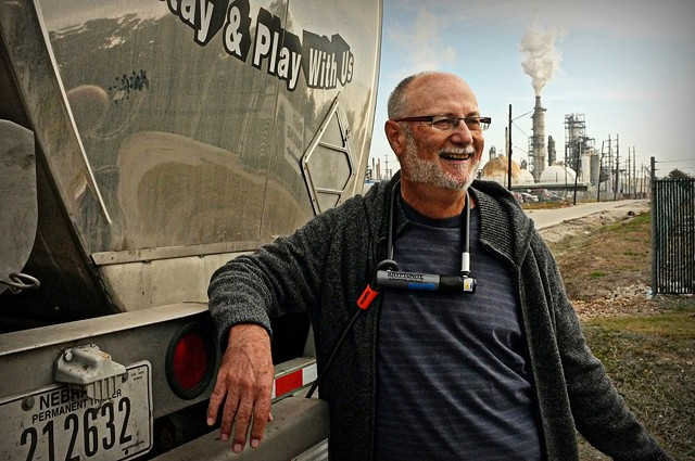 Bob locks down to a truck at a Valero refinery in Houston, TX in solidarity with Tar Sands Blockade