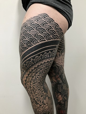 Ornamental mixed patterns tattoo by Alvaro Flores Tattooer from La Flor Sagrada Tattoo in Melbourne Australia