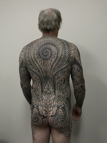 Dotwork body suit mandala geometric patterns by Alvaro Flores from La Flor Sagrada Tattoo